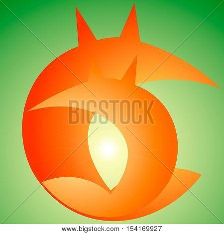 fox logo, orange, green, foxy, design, style
