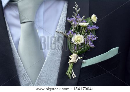 Corsage Boutonniere Brooch On Groom Suit