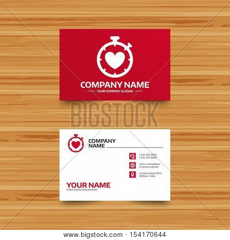 Business card template. Heart Timer sign icon. Stopwatch symbol. Heartbeat palpitation. Phone, globe and pointer icons. Visiting card design. Vector