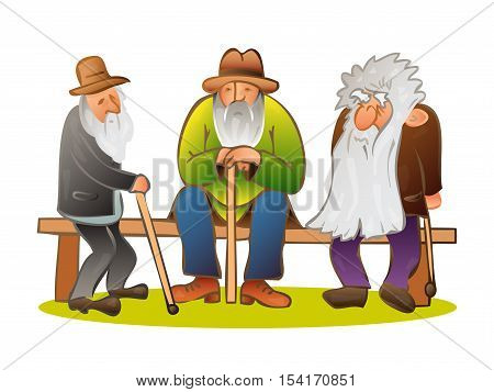Funny three old mens sitting on the bench. Old man with hat and walking cane. Sad grandfather with a long beard sitting on a bench. Retired recreation. Colorful cartoon vector illustration on white background
