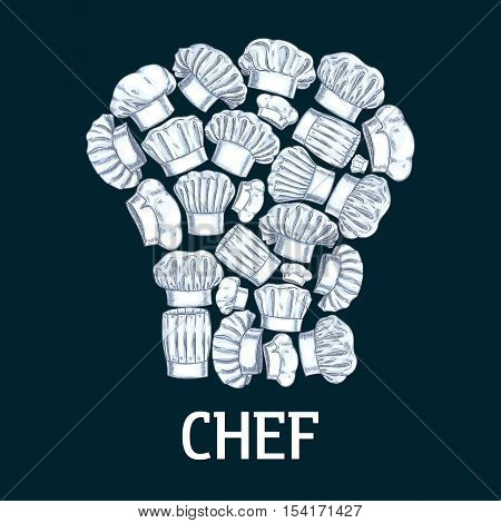 Chef toque label in shape of white cook hats. Vector decoration emblem for cafe, restaurant, bakery, patisserie. Pencil sketch icons elements