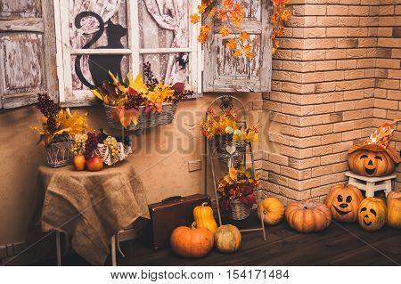 Old House Patio In Autumn Season.