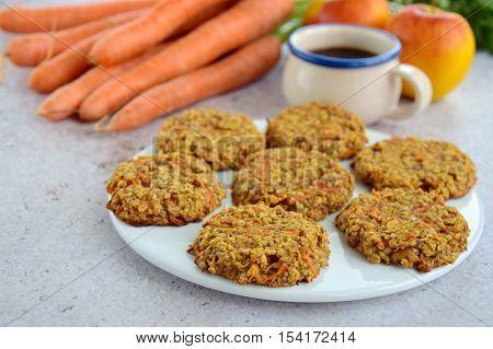 Homemade chewy carrot apple oat breakfast cookies