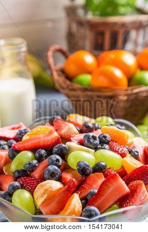 Closeup of healthy spring salad made of fruits