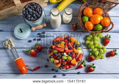 Preparations For Homemade Healthy And Fresh Fruit Salad