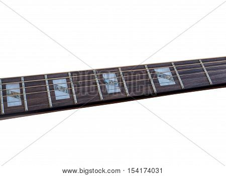 Inlay of guitar on fingerboard selective focus, on white background