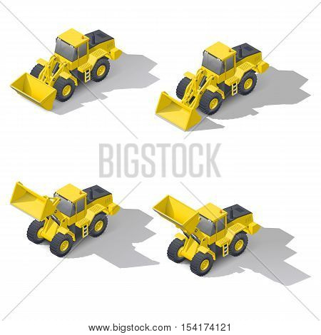 Quarry front loader with a different position of the bucket isometric icon set vector graphic illustration design
