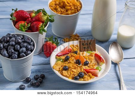 Healthy breakfast ready to eat on old wooden table