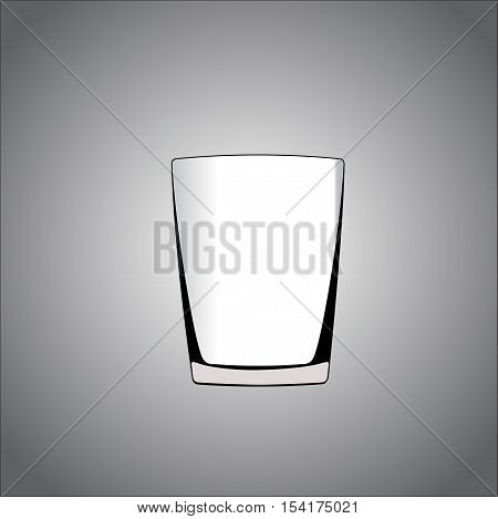 Vector glass cup isolated on gray background.