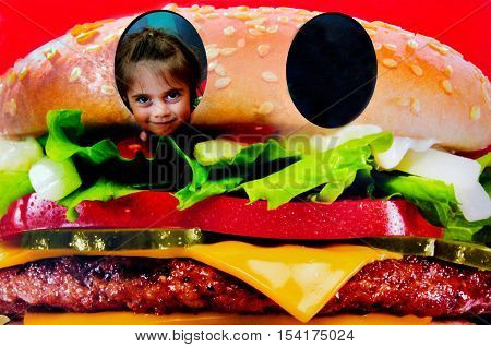 Little Child Face Inside A Hamburger