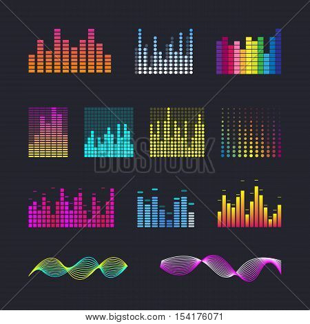 Set colorful ui ux music equalizer sound waves. Audio electronic bar. Music waves interface. Dj vector illustration. Colorful light audio signal.