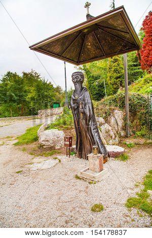 Ohrid, Macedonia - October, 3, 2014: Saint Naum statue in Saint Naum Monastery near Ohrid in Macedonia
