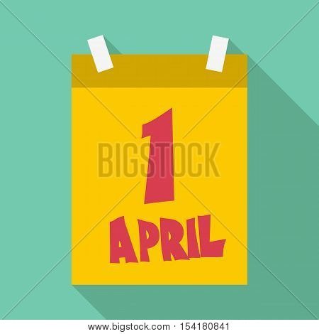 First april calendar icon. Flat illustration of first april calendar vector icon for web