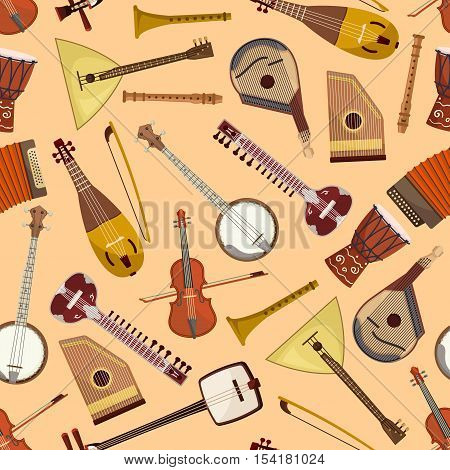 Pattern with musical instruments. Vector seamless pattern with music string and wind instruments of drum, guitar, violin, harmonic, banjo, flute, mandolin, balalaika, gusli, accordion, biwa koto lute