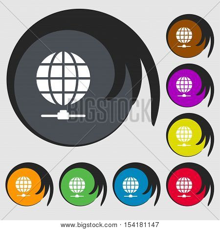 Website Icon Sign. Symbols On Eight Colored Buttons. Vector