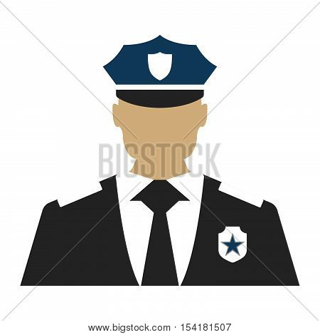 Police Officer. Elements Of The Police Equipment Icons. Protect And Serve Label. Vector Illustration
