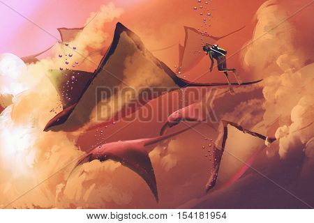 surreal world concept showing diver and manta rays flying in the cloudy sky, illustration painting