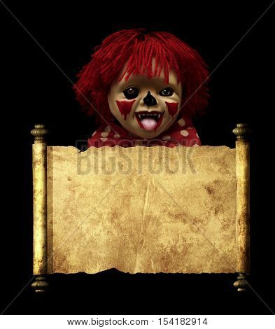 Spooky clown and vintage scroll. Isolated on black background. 3d render
