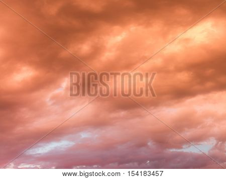 Colourful Skyscape With Versicolored Clouds At Sunset Dusk