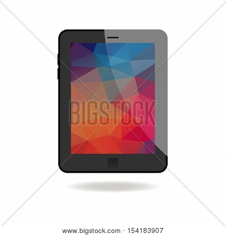 Illustration Of Tablet With Abstract Background. Outline on white background.