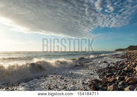 Ocean shore at sunrise (Cabot Trail Cape Breton Nova Scotia Canada)