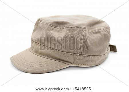 a beige cap on a white background
