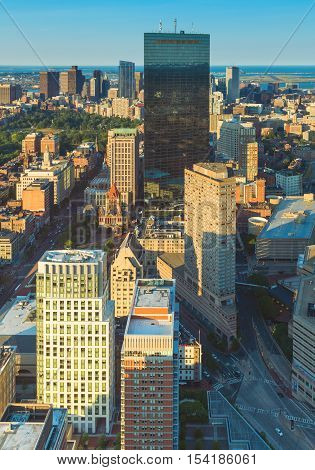 Boston, MA - June 2016, USA: View from Prudential Tower on Boston downtown and John Hancock skyscraper during the sunset