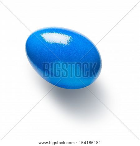 Blue painted easter egg isolated on white background. Holiday symbol. Single object with clipping path