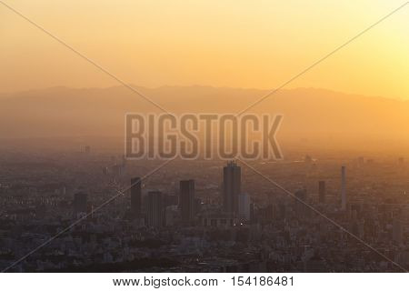 Sunset over Tokyo City Skyline,Tokyo, Japan, Asia