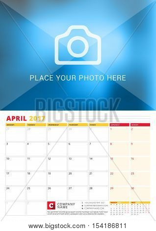 April 2017. Wall Calendar Planner For 2017 Year. Vector Print Template With Place For Photo. Week St