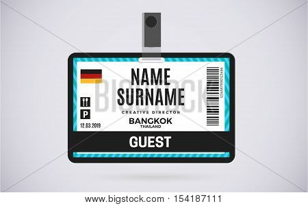 Event Guest id card plastic badge. vector design and text template illustration