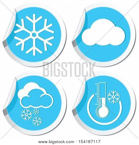 Weather forecast icons set on the stickers