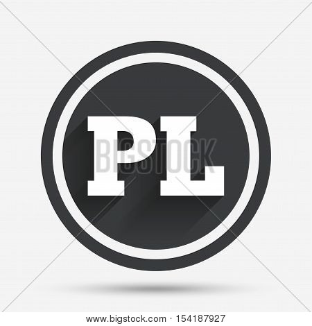 Polish language sign icon. PL translation symbol. Circle flat button with shadow and border. Vector