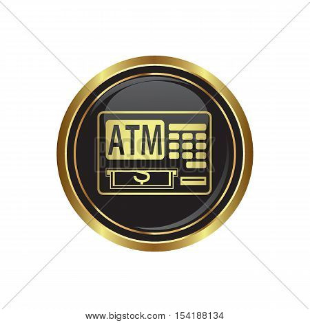 ATM cashpoint icon on the button. Vector illustration