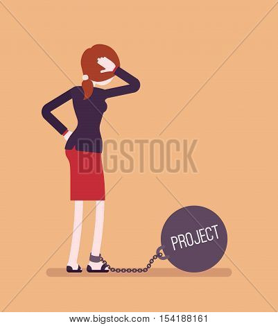 Businesswoman chained with a giant metall weight, written Project on a ball, thinking the problem over, scratching her head. Rear view. Cartoon vector flat-style concept illustration