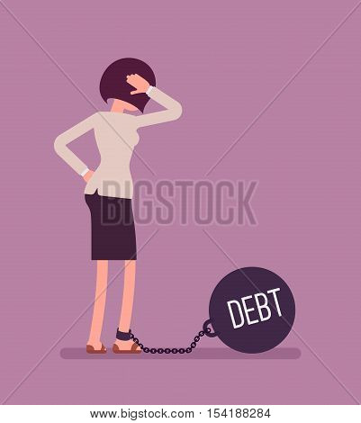 Businesswoman chained with a giant metall weight, written Debt on a ball, thinking the problem over, scratching her head. Rear view. Cartoon vector flat-style concept illustration