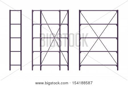 Set of metal black standing rack shown from different positions. Cartoon vector flat-style illustration