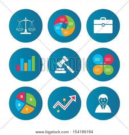 Business pie chart. Growth curve. Presentation buttons. Scales of Justice icon. Client or Lawyer symbol. Auction hammer sign. Law judge gavel. Court of law. Data analysis. Vector