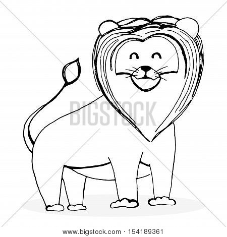 Sketch lion character. Lion drawing and animal sketch hand drawn lion vector illustration