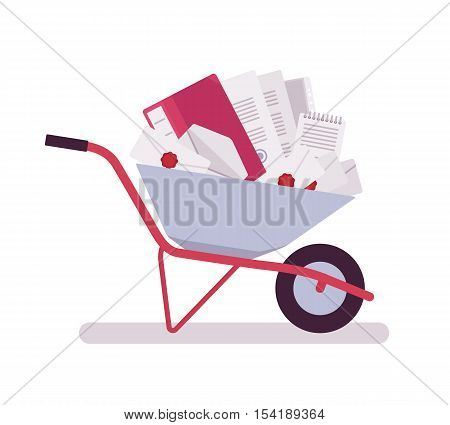 Wheelbarrow full of papers, folders, letters, documents, files. Cartoon vector flat-style illustration