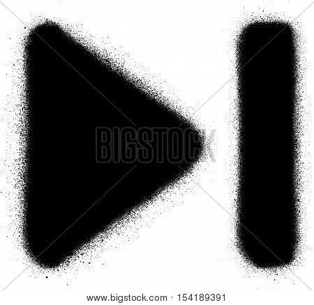 go to end media graffiti spray icon in black over white