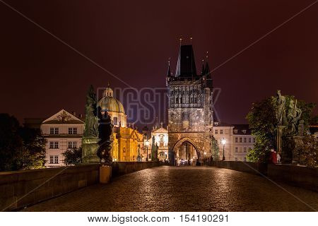 Prague - Charles bridge night photo Czech Republic. Charles bridge Old Town bridge tower Prague (UNESCO) Czech republic Europe