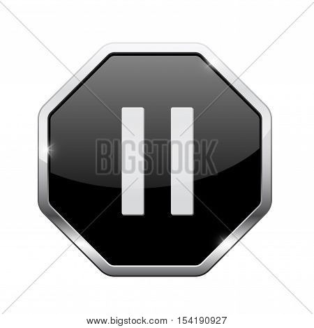 Pause button. Black octagon web icon with chrome frame. Vector illustration isolated on white background