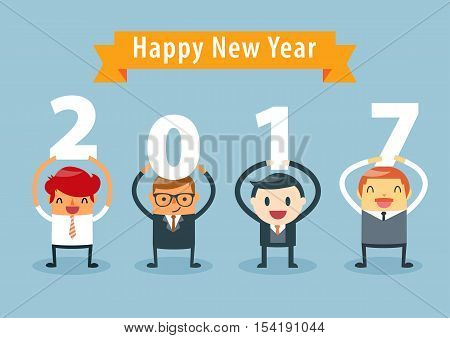 Businessmen holding 2017 letters New year vector illustration. happy new year concept.