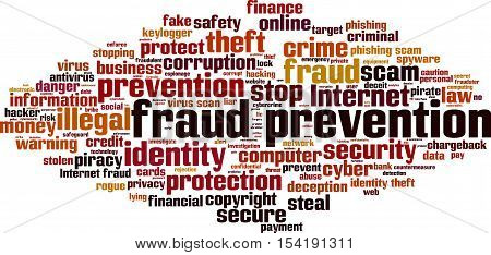 Fraud prevention word cloud concept. Vector illustration