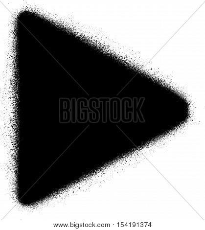 play media graffiti spray icon in black over white