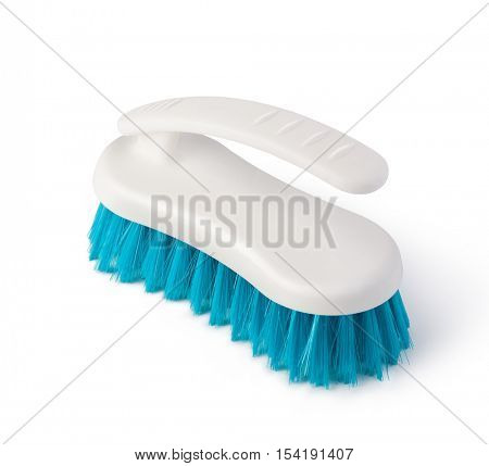 blue clothes brush, isolated on white background