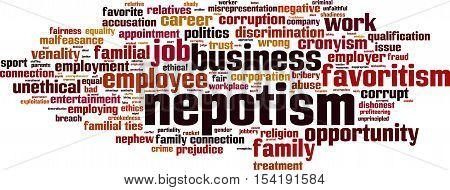 Nepotism word cloud concept. Vector illustration on white