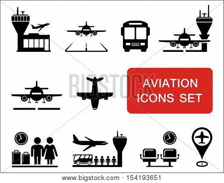 plane silhouette and aviation, airports icons with red signboard
