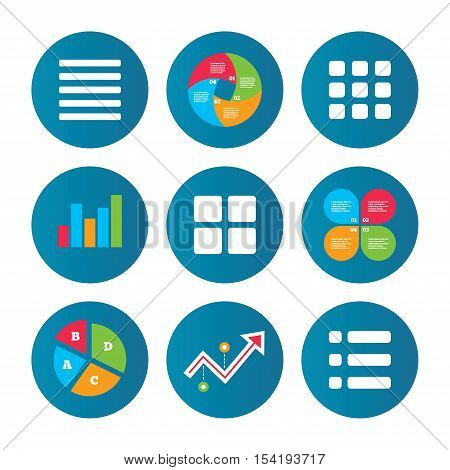 Business pie chart. Growth curve. Presentation buttons. List menu icons. Content view options symbols. Thumbnails grid or Gallery view. Data analysis. Vector